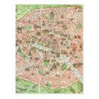 Vintage Map of Paris (1920) Postcard