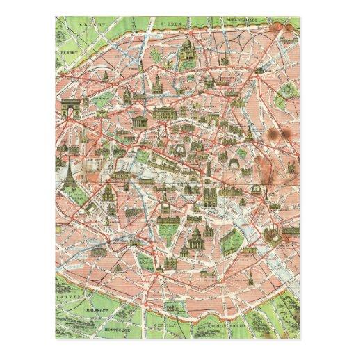 Vintage Map of Paris (1920) Post Card