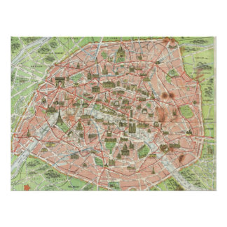 Vintage Map of Paris (1920) Poster