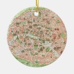Vintage Map of Paris (1920) Round Ceramic Decoration