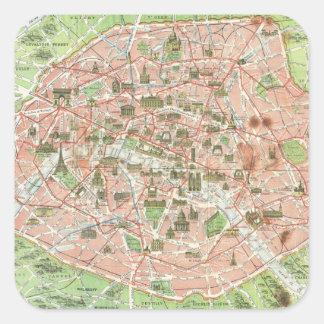 Vintage Map of Paris 1920 Sticker