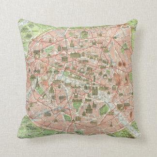 Vintage Map of Paris (1920) Throw Pillow