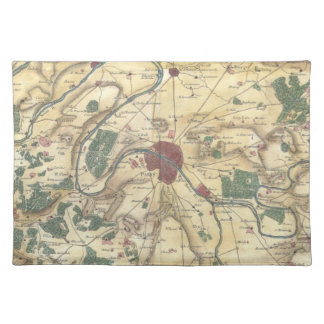 Vintage Map of Paris and Surrounding Areas (1780) Placemat