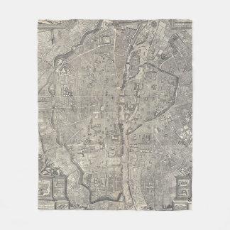 Vintage Map of Paris France (1652) Fleece Blanket