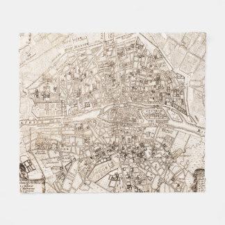 Vintage Map of Paris France (1742) Fleece Blanket