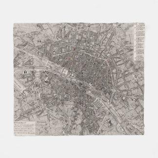 Vintage Map of Paris France (1837) Fleece Blanket