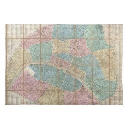 Vintage Map of Paris France (1867) Place Mat