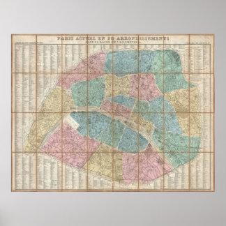 Vintage Map of Paris France 1867 Print