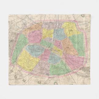 Vintage Map of Paris France (1878) Fleece Blanket
