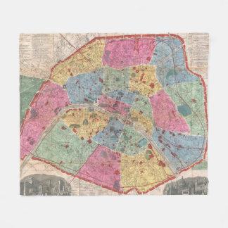 Vintage Map of Paris France (1889) Fleece Blanket