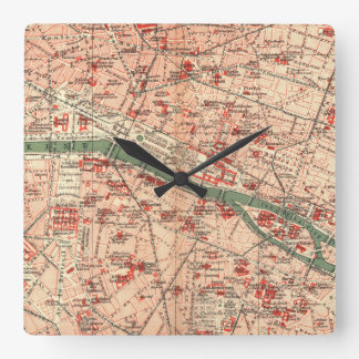 Vintage Map of Paris France (1910) Square Wall Clock