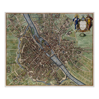 Vintage Map of Paris Poster