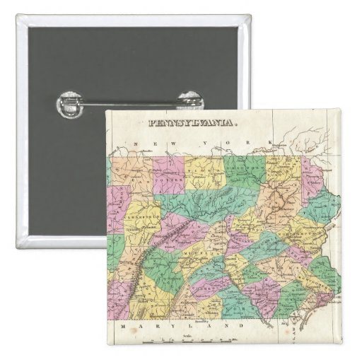 Vintage Map of Pennsylvania (1827) 15 Cm Square Badge
