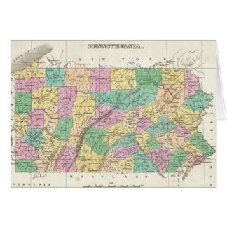 Vintage Map of Pennsylvania (1827) Card