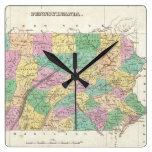 Vintage Map of Pennsylvania (1827) Square Wallclock