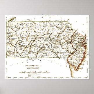 Vintage Map Of Pennsylvania+NJ 1875 Poster