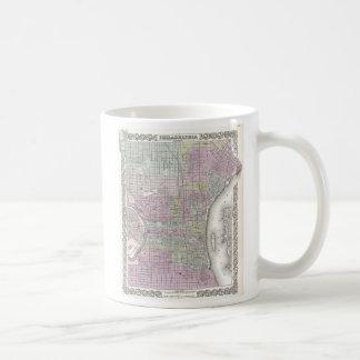 Vintage Map of Philadelphia (1855) Basic White Mug