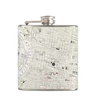 Vintage Map of Philadelphia (1885) Hip Flask