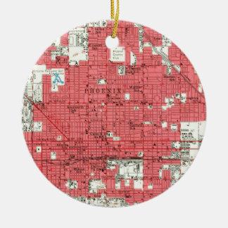 Vintage Map of Phoenix Arizona (1952) 3 Christmas Ornament