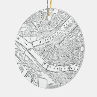 Vintage Map of Pittsburgh (1885) Christmas Ornament