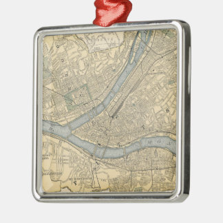 Vintage Map of Pittsburgh PA (1891) Silver-Colored Square Decoration