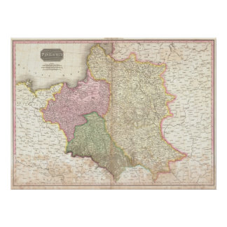 Vintage Map of Poland (1818) Poster