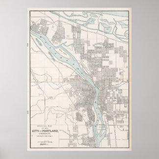 Vintage Map of Portland Oregon (1901) Poster