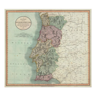 Vintage Map of Portugal (1801) Poster