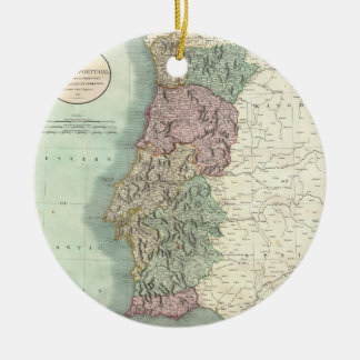 Vintage Map of Portugal (1801) Round Ceramic Decoration
