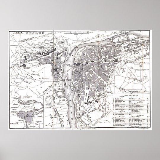 Vintage Map of Prague (1858) Poster