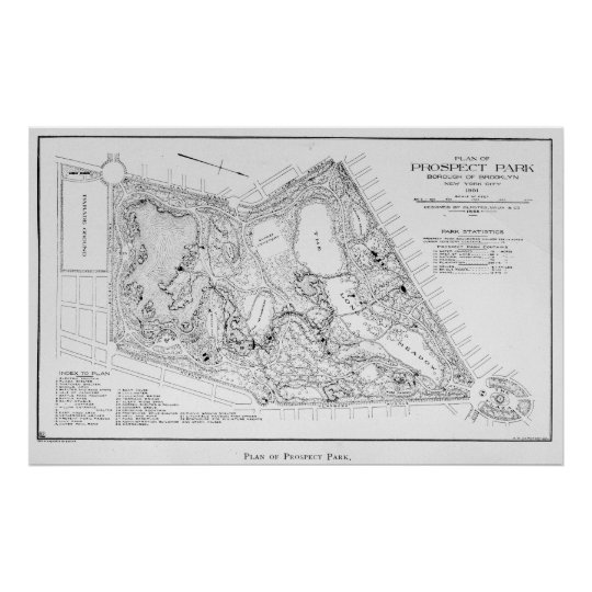 Vintage Map of Prospect Park (1901) Poster