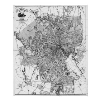 Vintage Map of Providence Rhode Island (1899) BW Poster