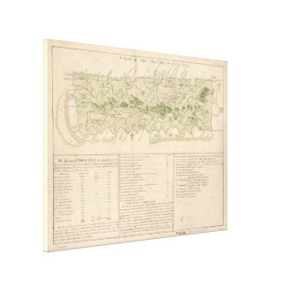 Vintage Map of Puerto Rico (1760) Canvas Print