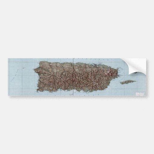 Vintage Map of Puerto Rico (1952) Bumper Sticker