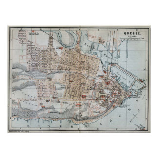 Vintage Map of Quebec City (1894) Poster