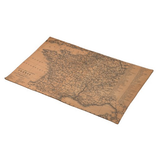 Vintage Map of Railroads in France (1914) Place Mats