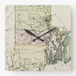 Vintage Map of Rhode Island (1797) Square Wall Clock
