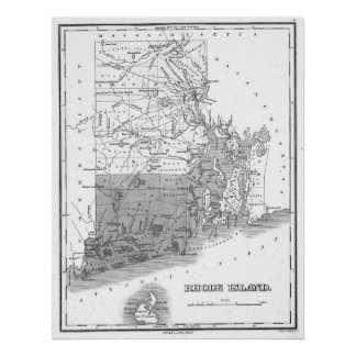Vintage Map of Rhode Island (1827) BW Poster