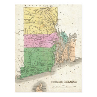 Vintage Map of Rhode Island (1827) Postcard