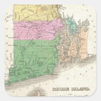 Vintage Map of Rhode Island (1827) Square Sticker