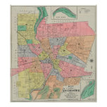 Vintage Map of Rochester NY (1901) Poster