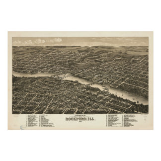Vintage Map of Rockford Illinois (1880) Poster