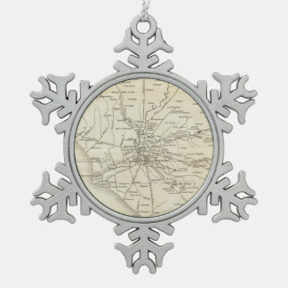 Vintage Map of Rome Italy (1821) Snowflake Pewter Christmas Ornament
