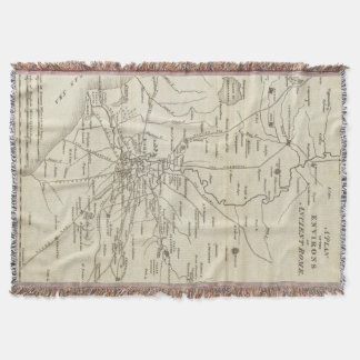 Vintage Map of Rome Italy (1821) Throw Blanket