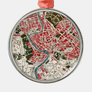 Vintage Map of Rome, Italy. Silver-Colored Round Decoration