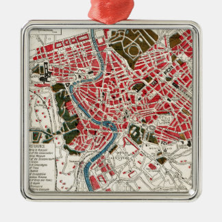 Vintage Map of Rome, Italy. Silver-Colored Square Decoration