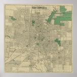 Vintage Map of San Antonio Texas (1909) Poster