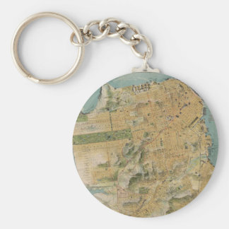 Vintage Map of San Francisco (1915) Basic Round Button Key Ring