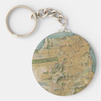 Vintage Map of San Francisco (1915) Basic Round Button Key Ring