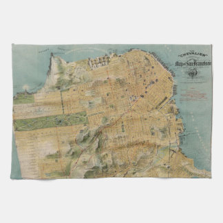 Vintage Map of San Francisco (1915) Tea Towel